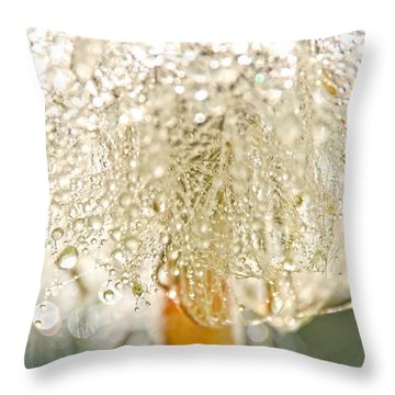 Dew Drops On Dandelion Throw Pillow by Peggy Collins