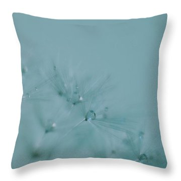 Dew Drops On Dandelion Seeds Throw Pillow
