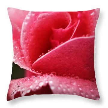 Throw Pillow featuring the photograph Dew Drops On Pink by Rebecca Davis