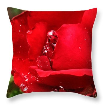Throw Pillow featuring the pyrography Dew Drops On Red by Rebecca Davis