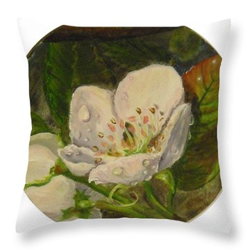Dew Of Pear's Blooms Throw Pillow