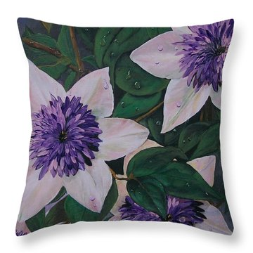 Throw Pillow featuring the painting Clematis After The Rain by Sharon Duguay