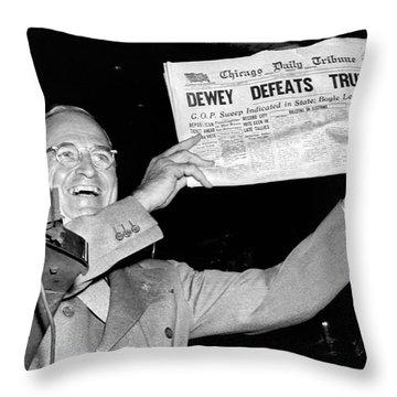 Dewey Defeats Truman Newspaper Throw Pillow