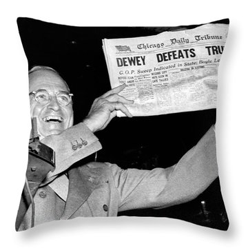 Dewey Defeats Truman Newspaper Throw Pillow