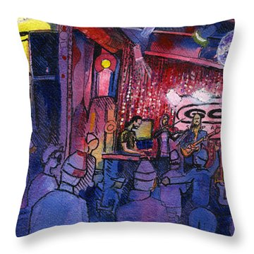 Dewey Paul Band At The Goat Throw Pillow by David Sockrider