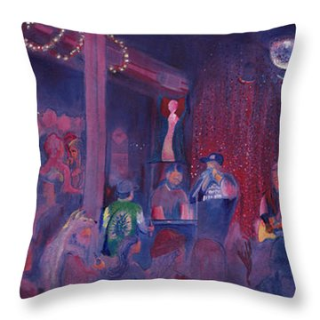 Dewey Paul Band At The Goat Nye Throw Pillow by David Sockrider