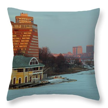 Dewolfe Boathouse Riverside Throw Pillow by Barbara McDevitt