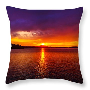 Dexter Lake Oregon Sunset 2 Throw Pillow