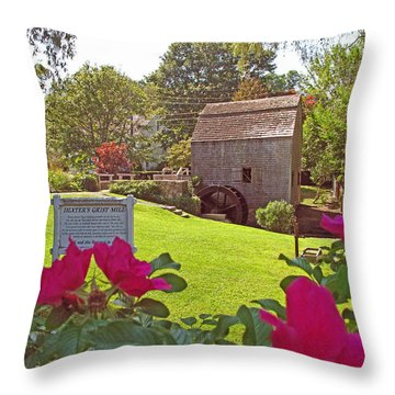 Dexters Grist Mill Two Throw Pillow by Barbara McDevitt