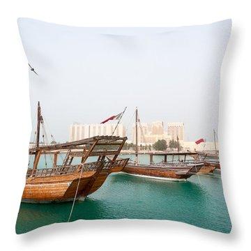 Dhow Moored On Doha Coast In Qatar Throw Pillow