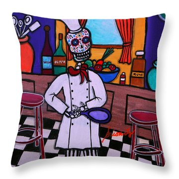 Dia De Los Muertos Chef Throw Pillow