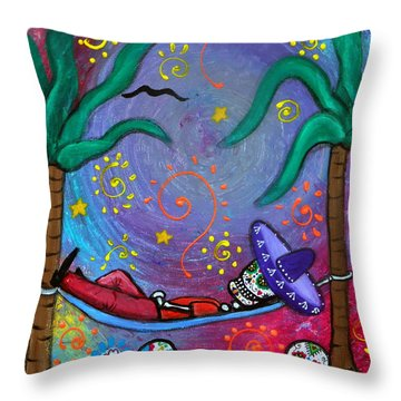 Dia De Los Muertos Mariachi Siesta Throw Pillow