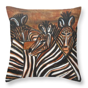 Zebra Bar Crowd Throw Pillow