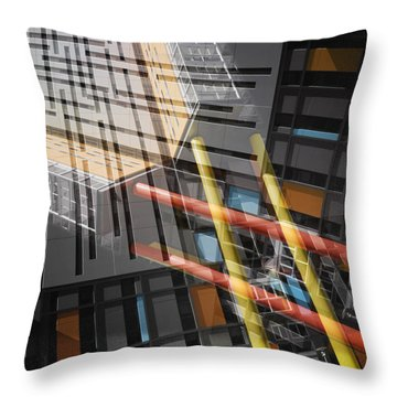Diagonal Mondrian Throw Pillow