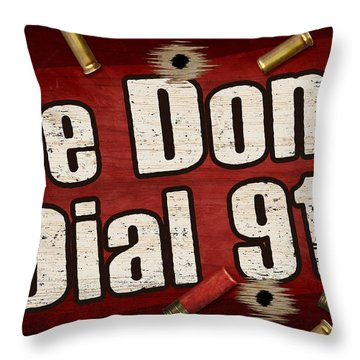 Dial 911 Throw Pillow by JQ Licensing