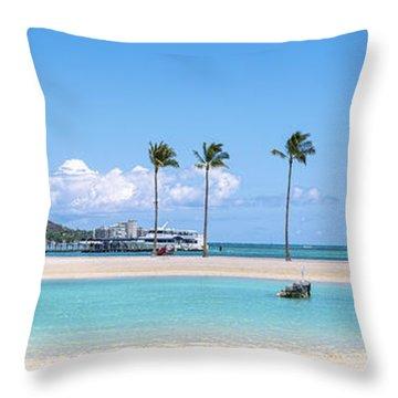 Diamond Head And The Hilton Lagoon 3 To 1 Aspect Ratio Throw Pillow