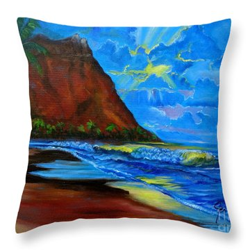 Diamond Head Blue Throw Pillow