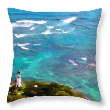Diamond Head Lighthouse View Throw Pillow