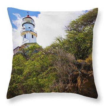 Diamond Head Lighthouse - Oahu Hawaii Throw Pillow by Brian Harig