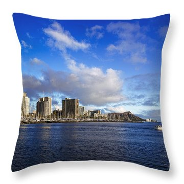 Throw Pillow featuring the photograph Diamond Head Sail Boat by Aloha Art