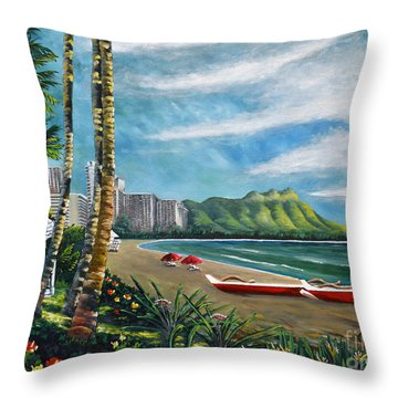 Diamond Head Waikiki Throw Pillow