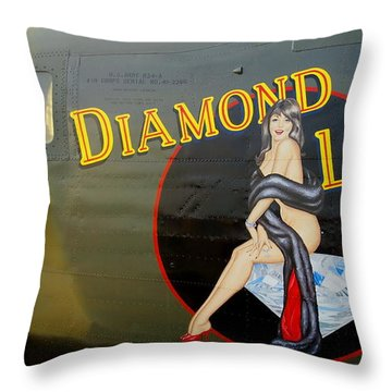 Diamond Lil B-24 Bomber Throw Pillow