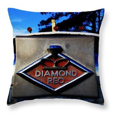 Throw Pillow featuring the photograph Diamond Reo Hood Ornament by Bartz Johnson