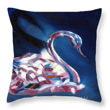 Throw Pillow featuring the painting Diamond Swarovski Swan by LaVonne Hand