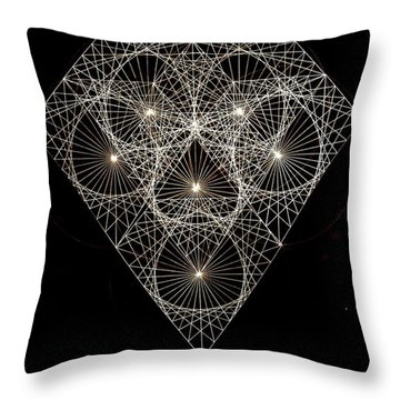 Diamond White And Black Throw Pillow by Jason Padgett