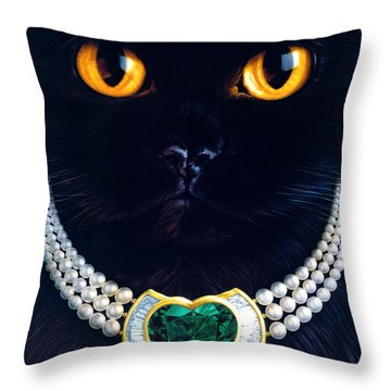 Diamonds Are A Cats Best Friend Throw Pillow by Andrew Farley
