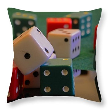 Dice Throw Pillow by Paul Ward
