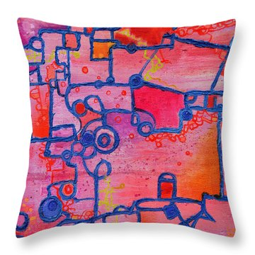 Dichotomy  Original Abstract Oil Painting By Regina Valluzzi Throw Pillow by Regina Valluzzi