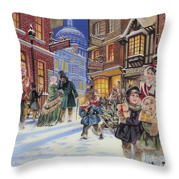 Dickensian Christmas Scene Throw Pillow by Angus McBride