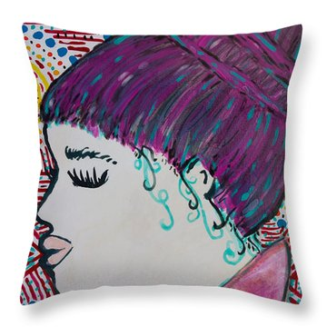 Throw Pillow featuring the painting Did You See Her Hair by Jacqueline Athmann