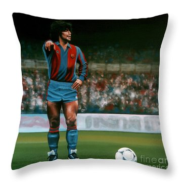 Diego Maradona Throw Pillow by Paul Meijering