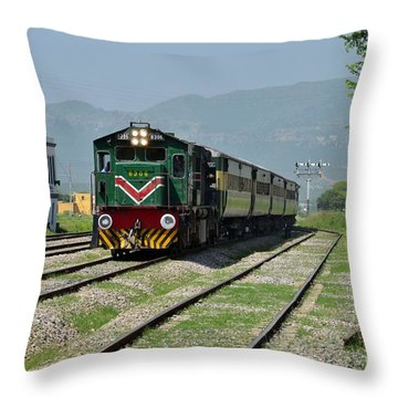 Throw Pillow featuring the photograph Diesel Electric Locomotive Speeds Past Student by Imran Ahmed
