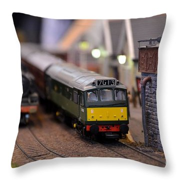 Diesel Electric Model Train Railway Engine Throw Pillow