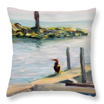 Throw Pillow featuring the painting Different Views by Mary Schiros