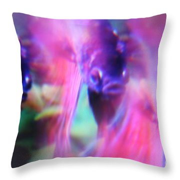 Digital Abstract With Fish 6 Throw Pillow