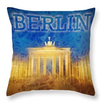 Digital-art Brandenburg Gate II Throw Pillow by Melanie Viola