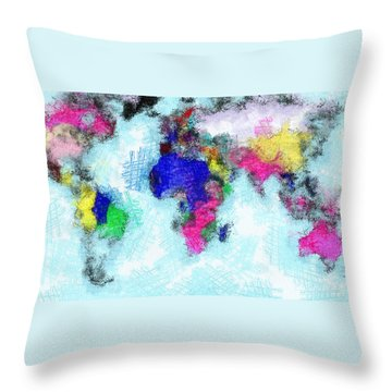 Digital Art Map Of The World Throw Pillow by Georgi Dimitrov