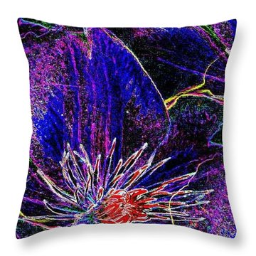 Digital Blue Purple Flowers Throw Pillow
