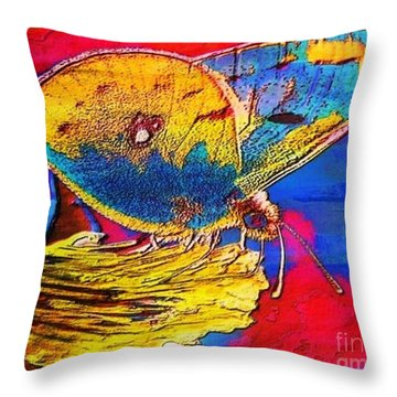 Digital Mixed Media Butterfly Throw Pillow