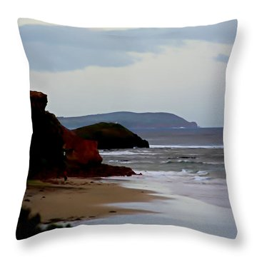 Digital Painting Of Smiths Beach Throw Pillow by Blair Stuart