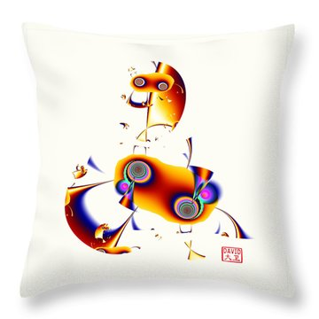 Digital Picasso - Hobby Horse Throw Pillow