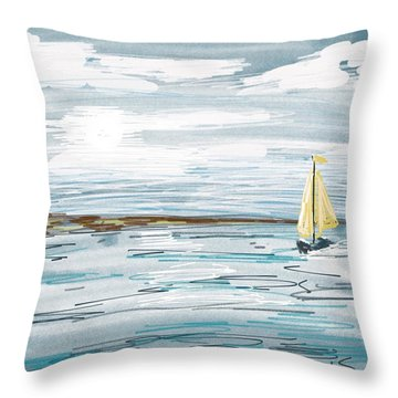 Digital Seascape In Blue Throw Pillow
