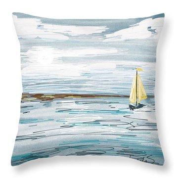 Digital Seascape In Blue Throw Pillow