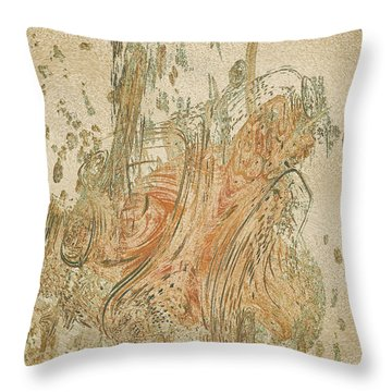 Digital Sumi-e Throw Pillow