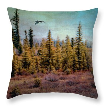 Digitally Painted Textured Pine Hawk Flyover Throw Pillow