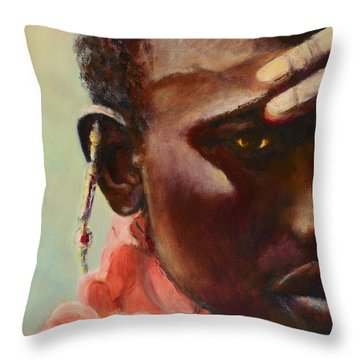 Throw Pillow featuring the painting Dignity by Sher Nasser